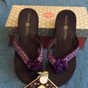NIB Brown& Purple Lindsay Phillips Switch Flops